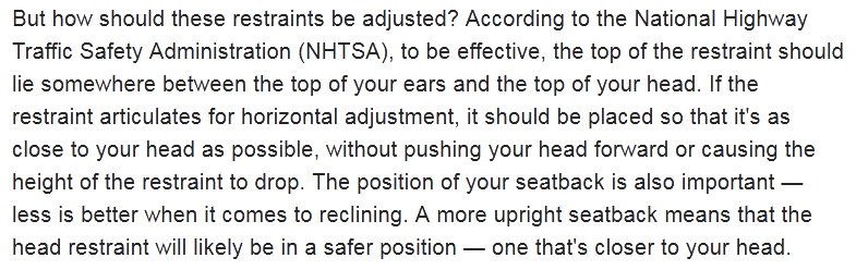 Quote from Edmonds.com about adjusting head restraints